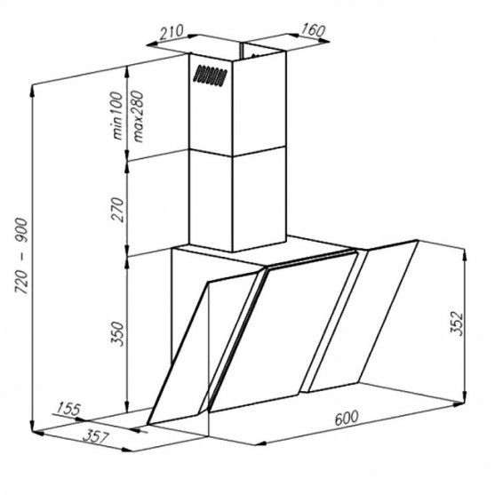 Вытяжка Maunfeld TRENT 60 GREY GLASS B