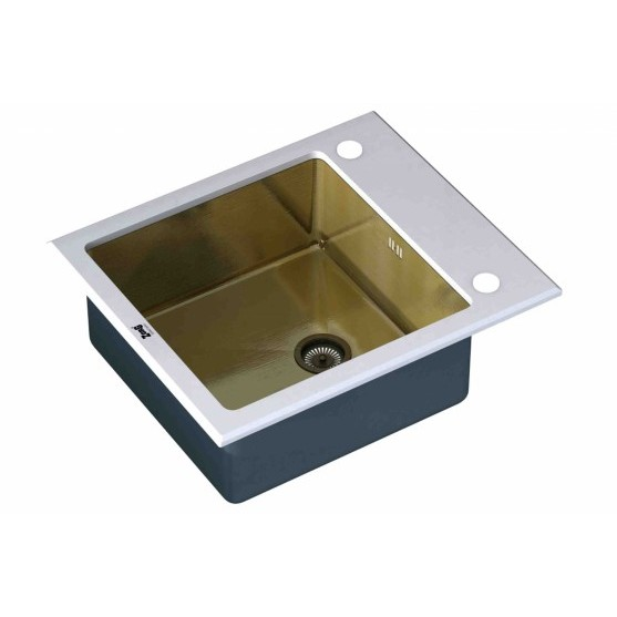 Мойка ZorG INOX-GLASS GL-6051-WHITE-BRONZE (600х510 мм)