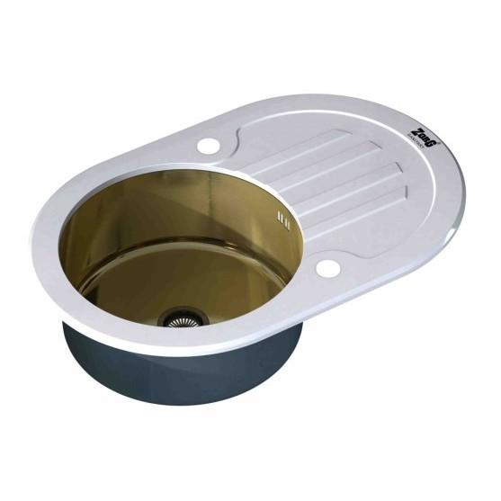 Мойка ZorG INOX-GLASS GL-7851-OV-WHITE-BRONZE (780х510 мм)