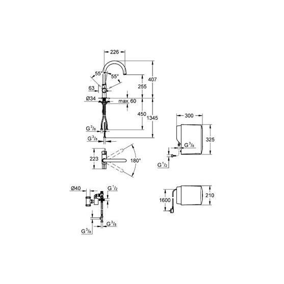 Комплект Grohe: смеситель Red+бойлер SINGLE (4 литра) 30083DC0