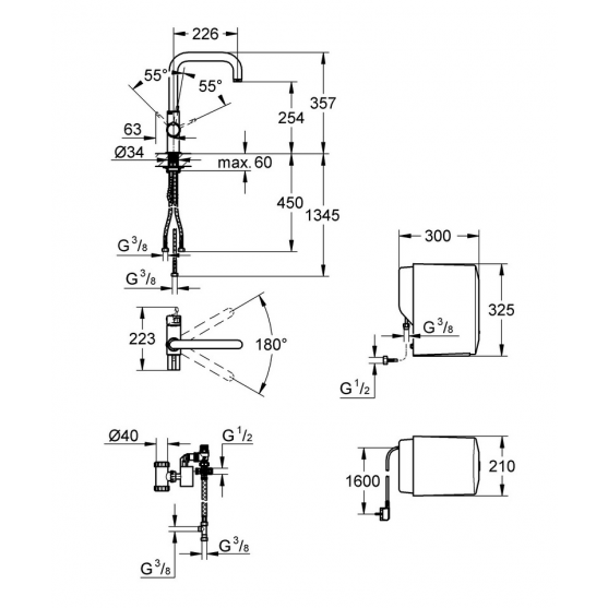 Комплект Grohe: смеситель Duo+бойлер SINGLE (4 литра) 30145000