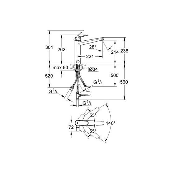 Смеситель Grohe Eurodisc Cosmo 31237002